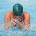 Susanne Wehmer, pintura hiperrealista, Nadador #2